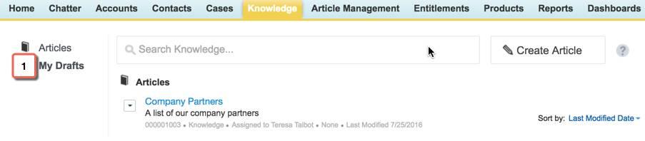 Editar artigo na guia Knowledge