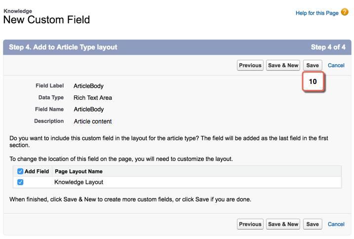 Adicionar o layout de tipo de artigo ao campo
