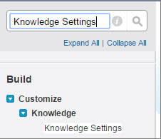 Quick Find Knowledge Settings