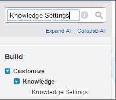 Configurações do Knowledge na busca rápida