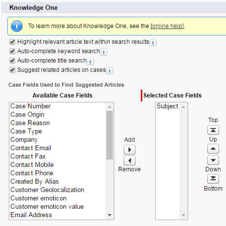 Knowledge One Case Fields