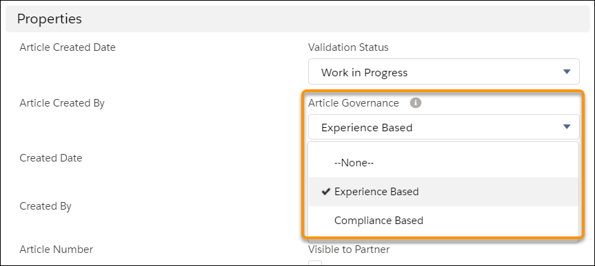 The article creation form showing the Article Governance picklist with Experience Based and Compliance Based options.