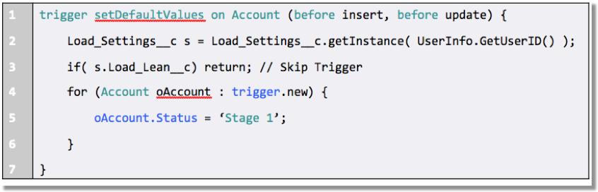 取引先オブジェクトの setDefaultValues というトリガのコードを示すコードスニペット。コード内の強調表示されているステートメントは、取引先の状況がステージ 1 の値に更新されたことを示します。