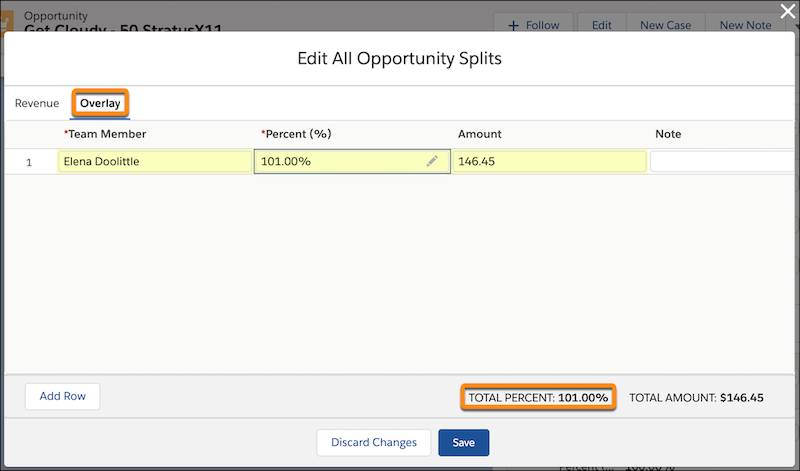 Fenêtre Modifier toutes les parts d'opportunité avec l'onglet Plan sélectionné ElenaDoolittle a une part de 101%. Le total est de 101%.