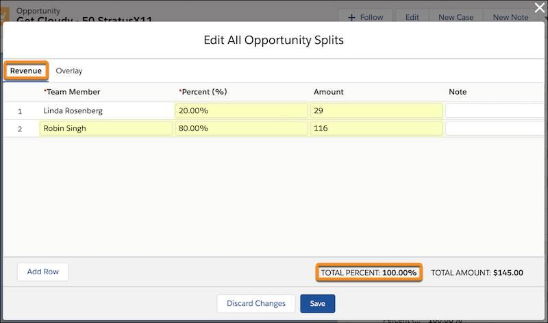 Fenêtre Modifier toutes les parts d'opportunité avec l'onglet Chiffres d'affaires sélectionné. LindaRosenberg dispose d'une part de 20% et RobinSingh dispose d'une part de 80%. Au total, les pourcentages sont égaux à100.