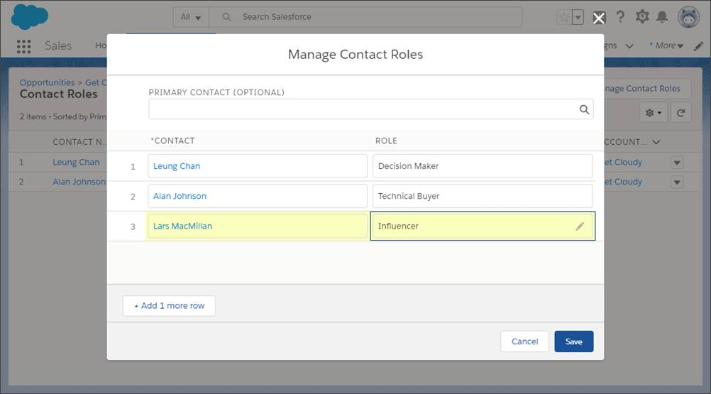 Add a contact's name and role in the Manage Contact Roles window.