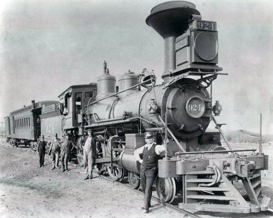[A steam locomotive is one example of how steam power fueled the first industrial revolution]
