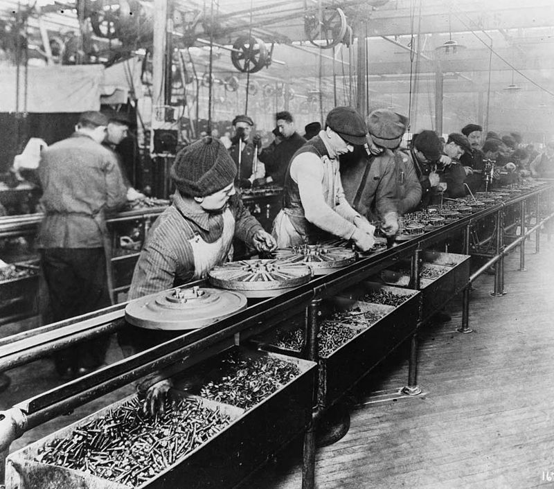 [The assembly line created factory jobs and powered mass production]