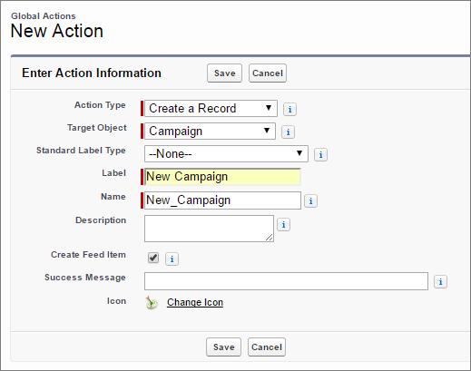 Crear una acción Nuevo campaña