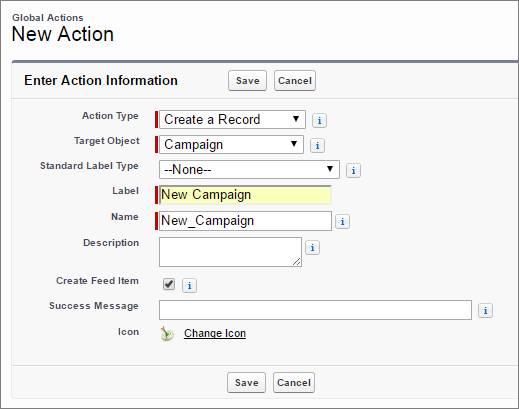 Créer une action Nouvelle campagne