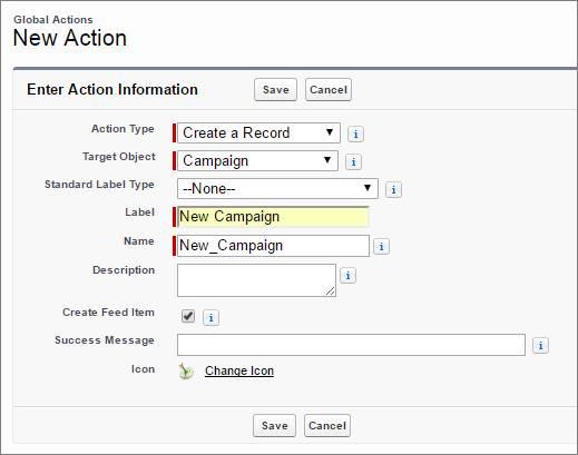 Criar uma ação Nova campanha