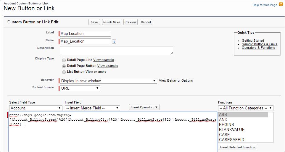 Attribute von Schaltflächen für benutzerdefinierte Detailseiten