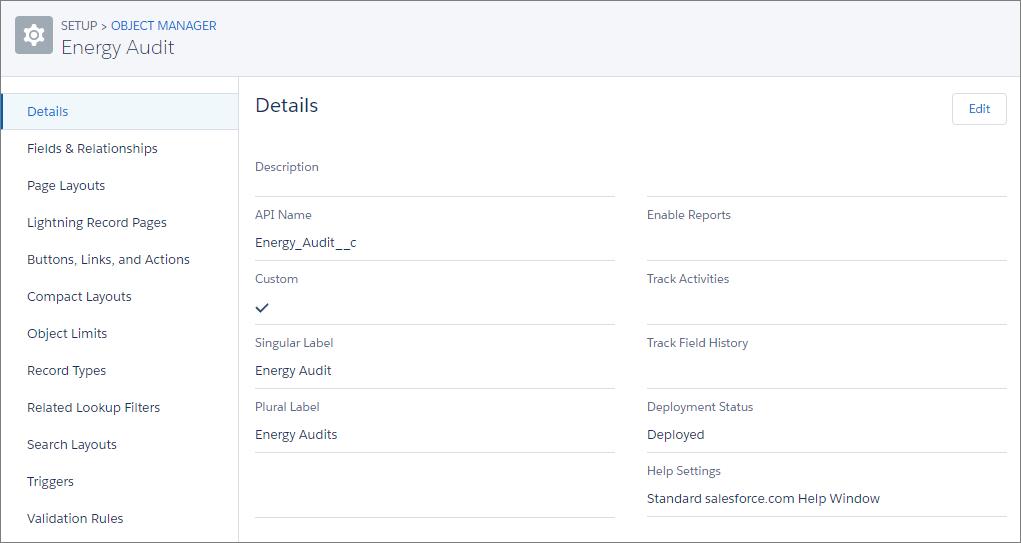 Detalles del objeto Auditoría de energía