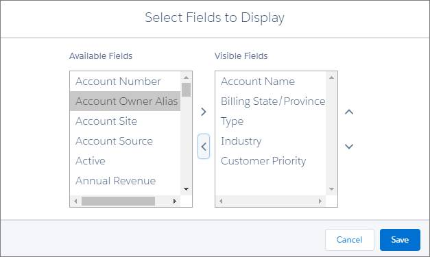 Select fields to display