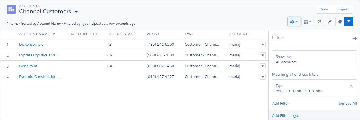 Channel customers list view