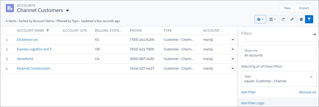 Vista de lista de clientes de canal