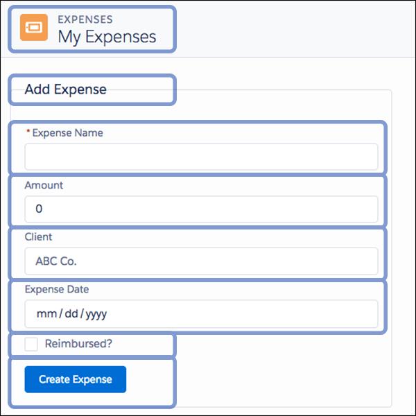 Composição do aplicativo de despesas