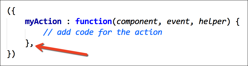 Separate action handlers with commas!