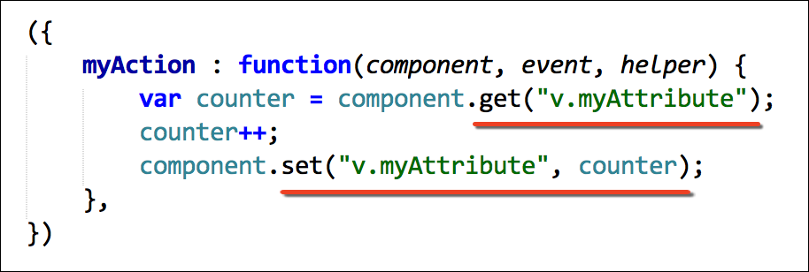 Use get and set functions to get and set component attribute values
