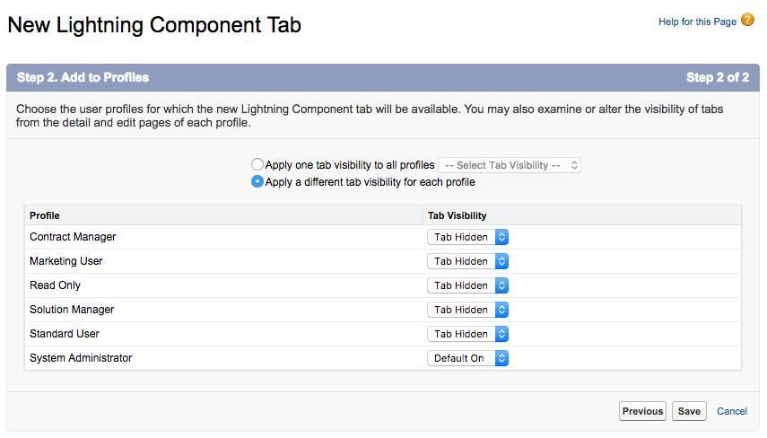 Set custom tab visibility