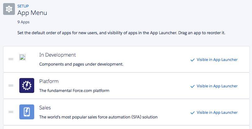 Einstellen auf 'In App Launcher sichtbar'