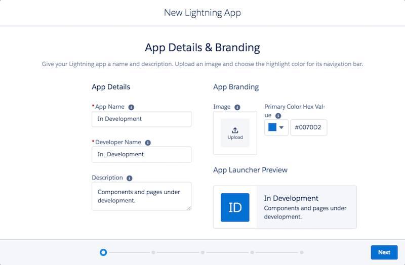 Création d'une nouvelle application Lightning