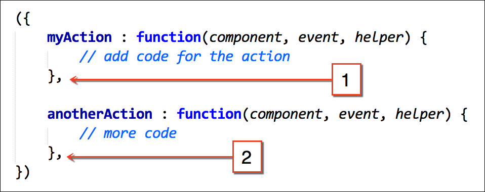 Tip: Add a comma after every action handler