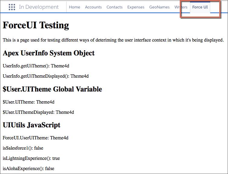 Navigation bar with Visualforce tab