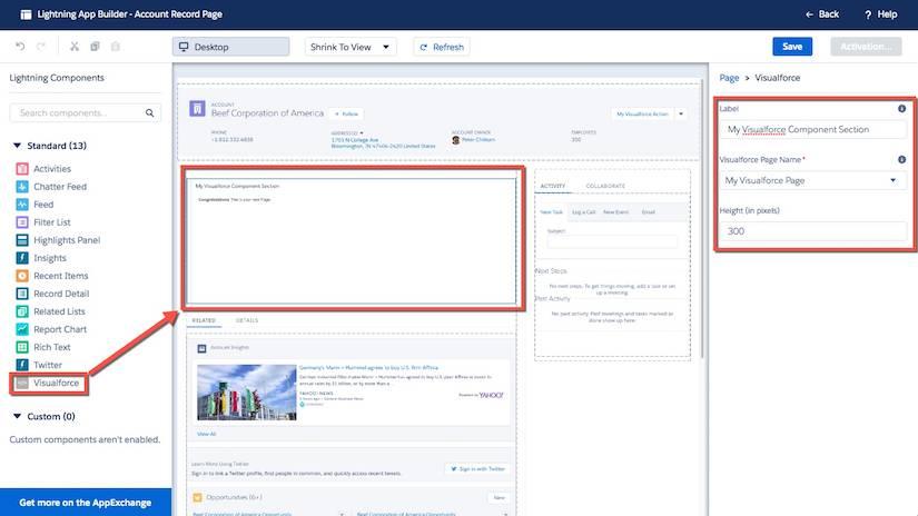 Lightning アプリケーションビルダーのページに Visualforce ページを追加