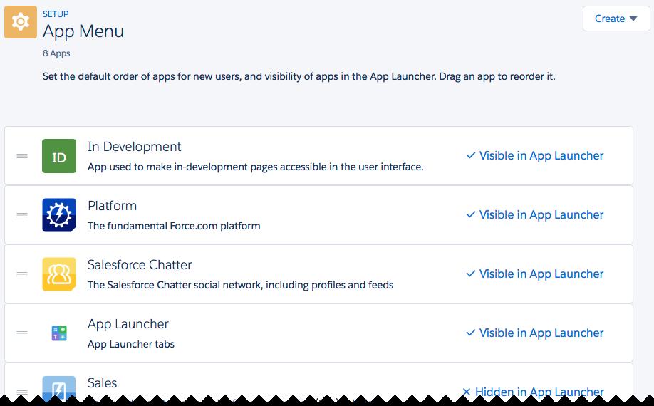 アプリケーションランチャーのアプリケーションの表示および順序