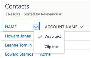 Cabeçalho da coluna com a seta clicada para mostrar as opções Quebrar texto automaticamente e Recortar texto