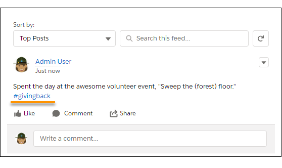 The #givingback tag in a Chatter post