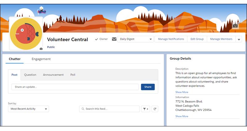 La página del grupo Volunteer Central (Central de voluntarios)