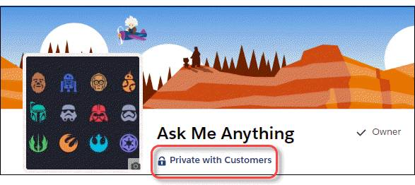 Indicator on a private group with customers