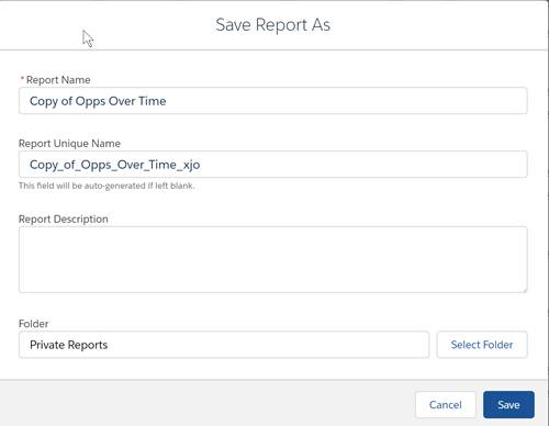 Save As report dialog