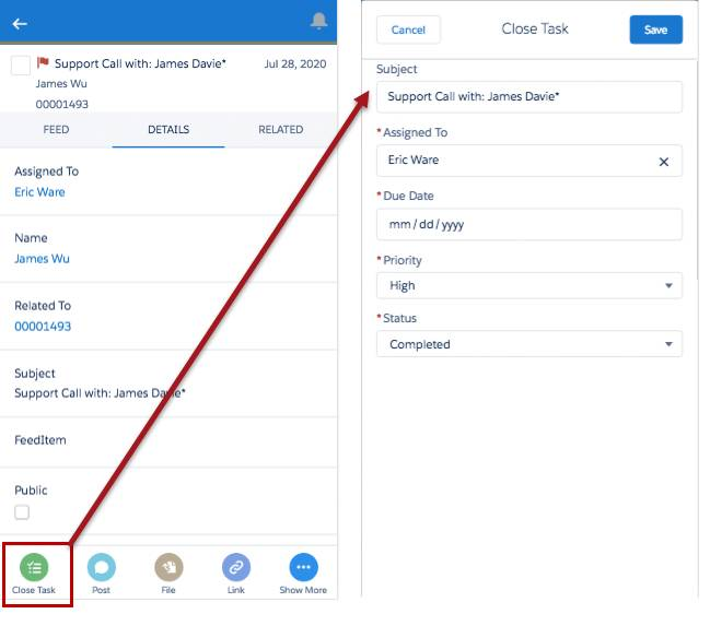 Close Task action in the Salesforce app
