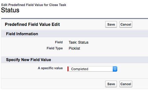 Festlegen vordefinierter Feldwerte für 'Status'