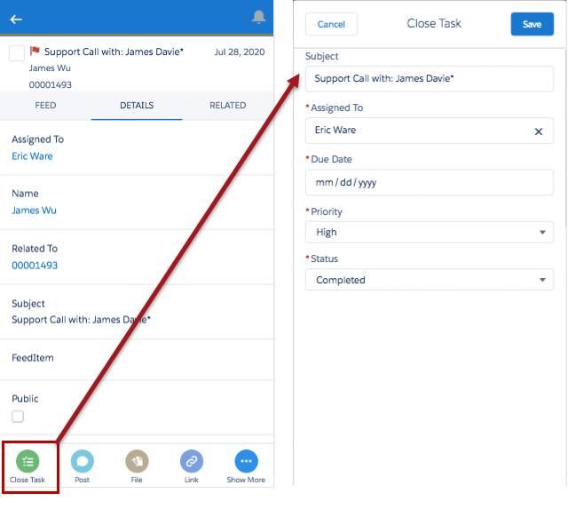 Aktion 'Aufgabe abschließen' in der Salesforce-Anwendung