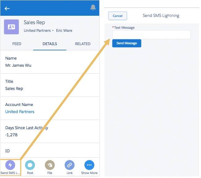 Acción SMS Lightning en la aplicación Salesforce