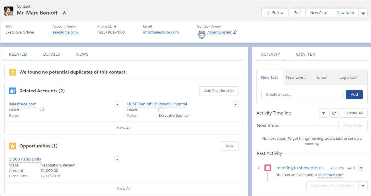 Sample Contact Record Page in Lightning Experience