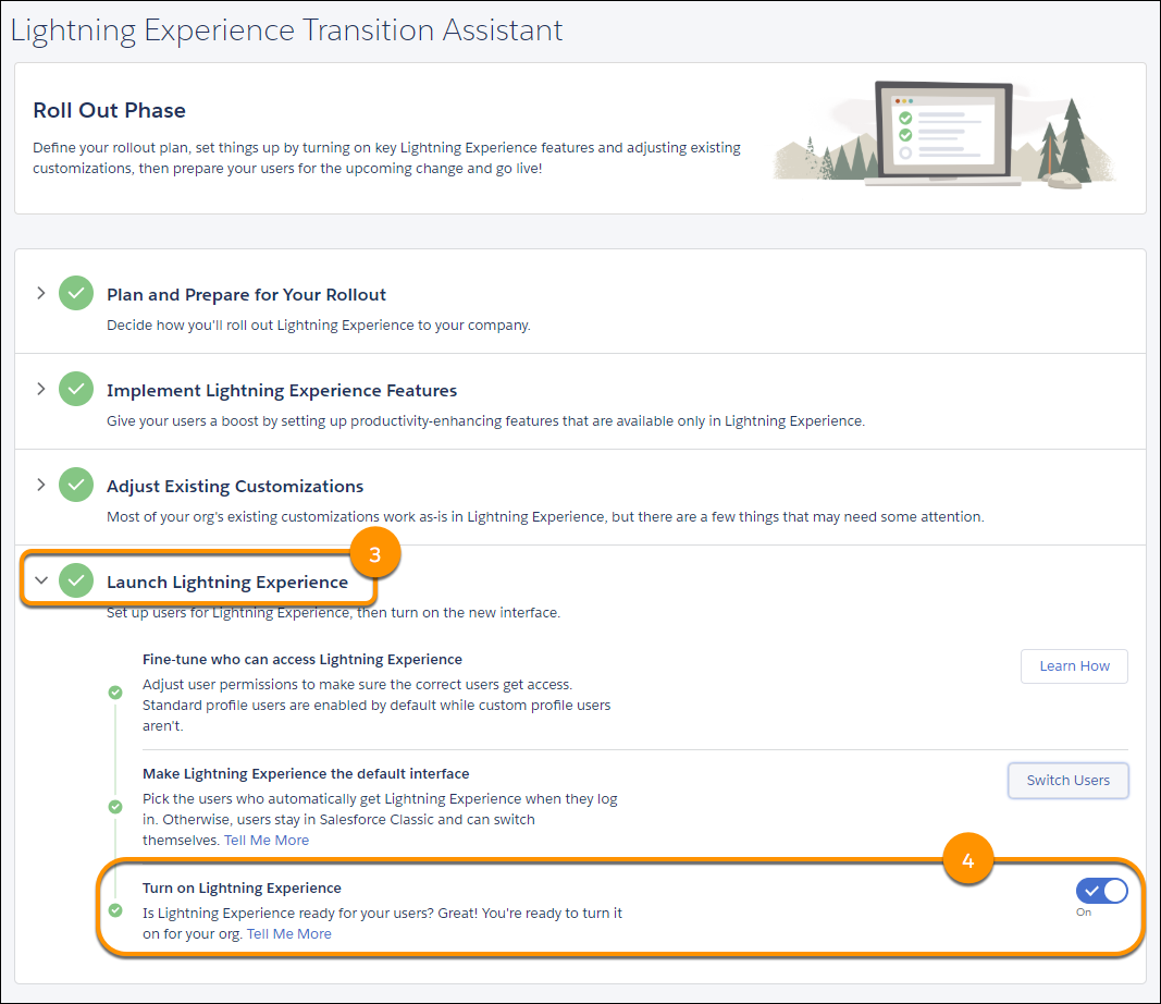 Screenshot of the step for turning Lightning Experience on from the Transition Assistant.