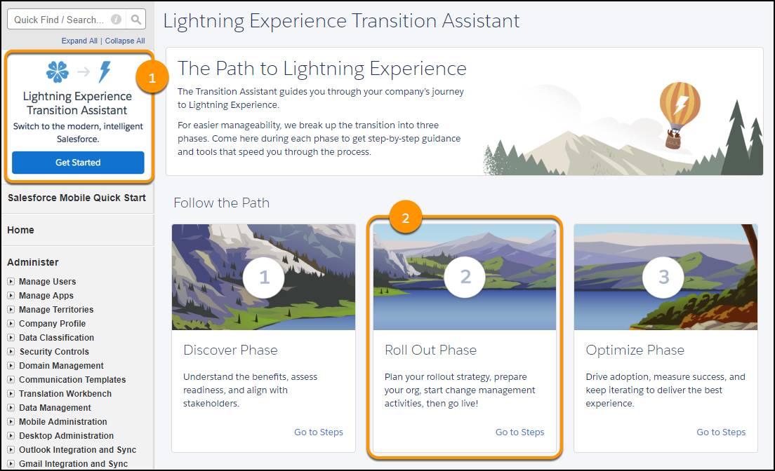 Captura de pantalla del Asistente de transición de Lightning Experience en Configuración