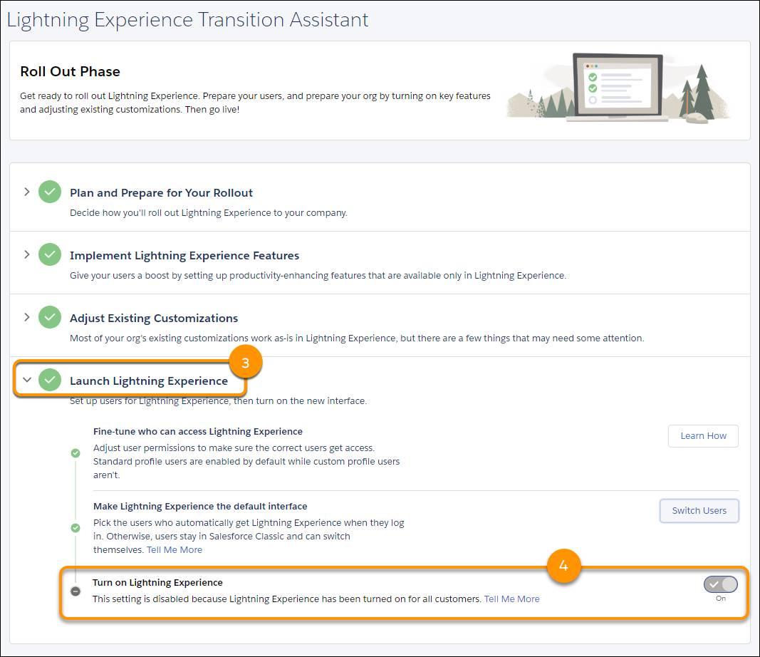 Captura de pantalla del paso para activar Lightning Experience desde el Asistente de transición.