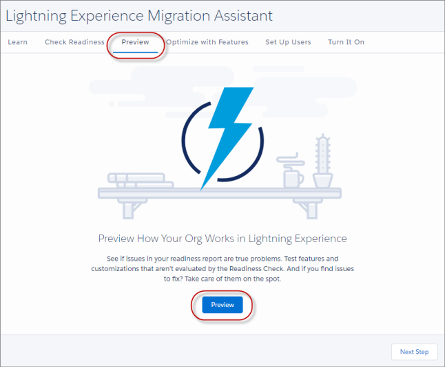 Preview Feature in the Lightning Experience Migration Assistant