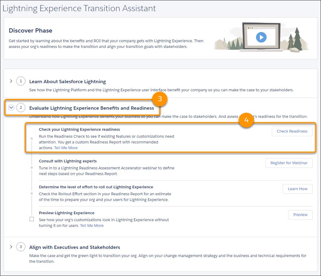 Capture d'écran de l'étape d'exécution de la vérification de la préparation dans l'assistant de migration.