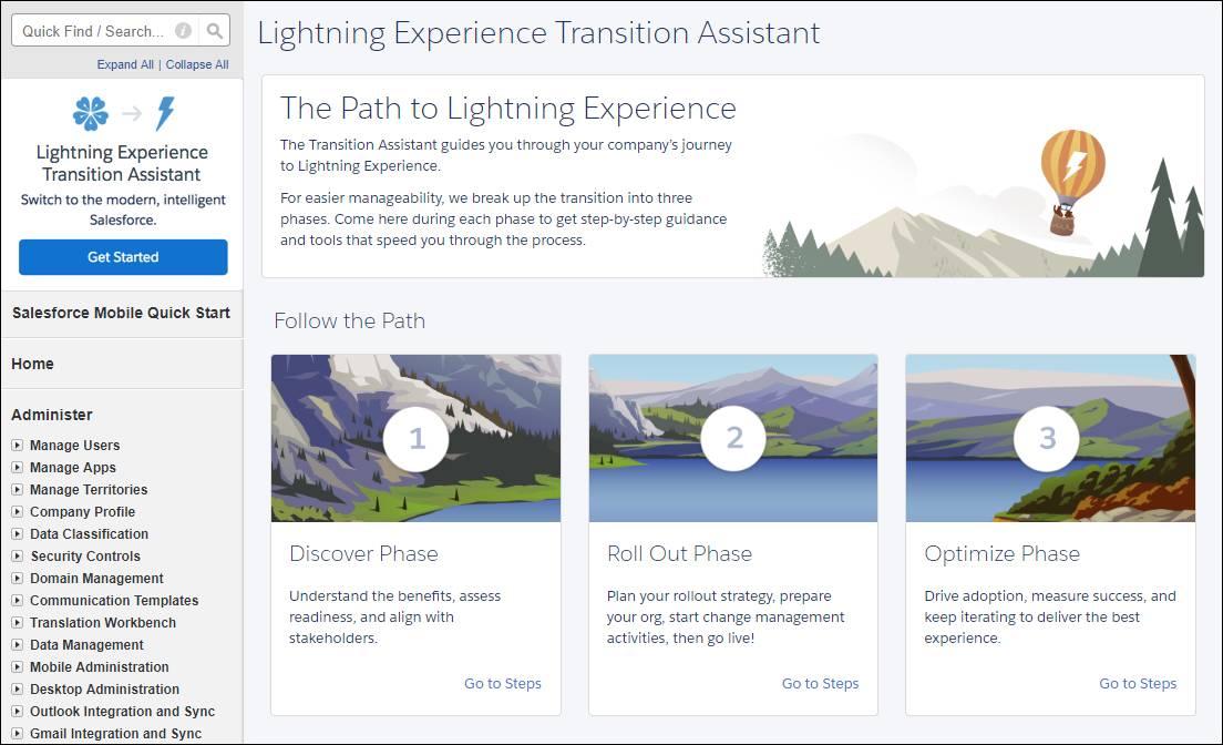 Assistant de migration de LightningExperience