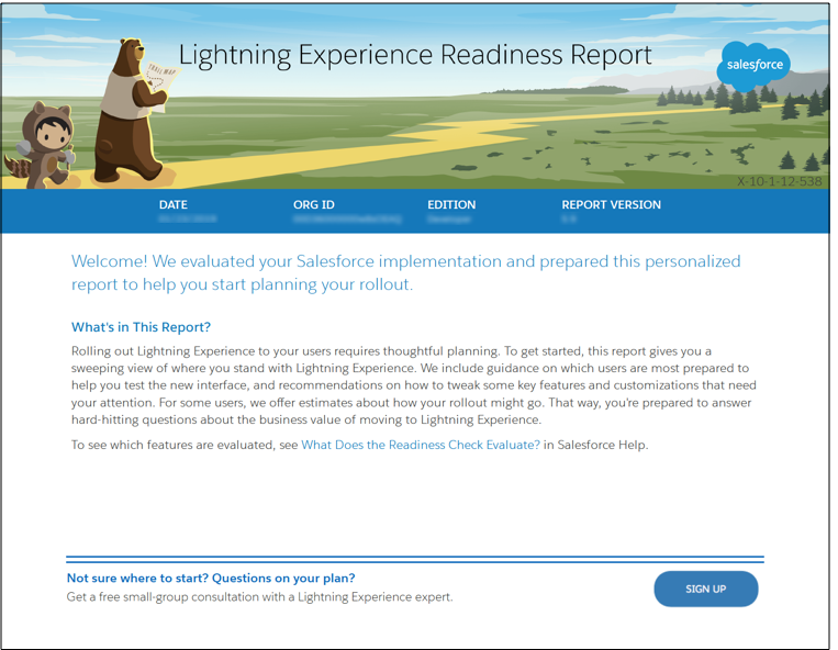 Image of the first page of the Lightning Experience Readiness Report