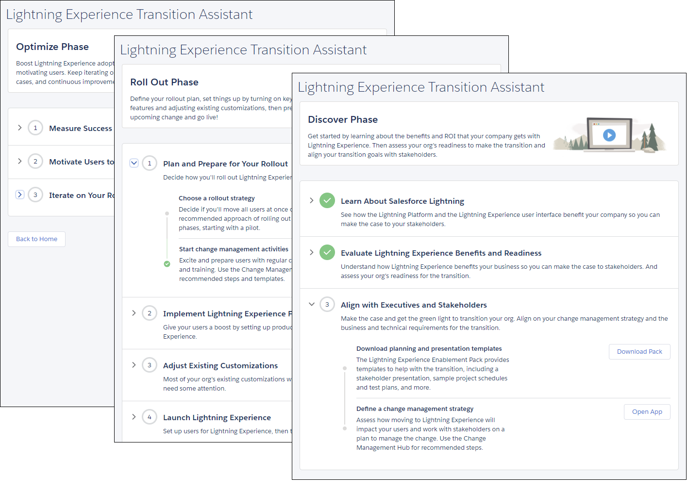 Screenshot of the Discover, Roll Out, and Optimize phase pages in the Lightning Experience Transition Assistant