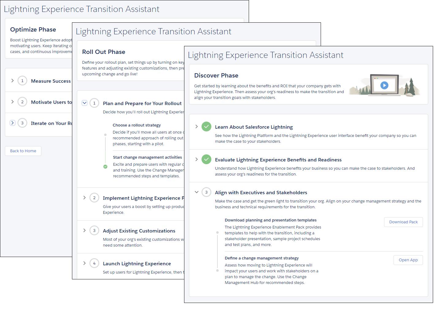 Screenshot der Seiten mit den Phasen 'Entdecken', 'Einführen' und 'Optimieren' im Assistenten für die Umstellung auf Lightning Experience