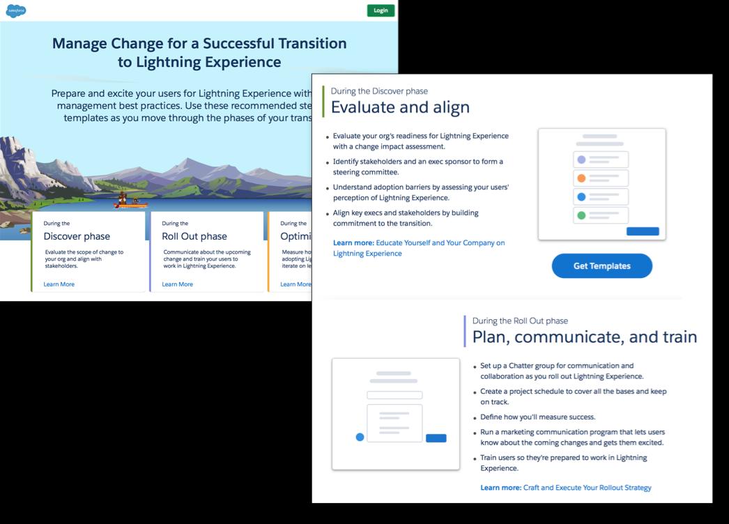 Núcleo de gestión de cambios de transición de Lightning Experience